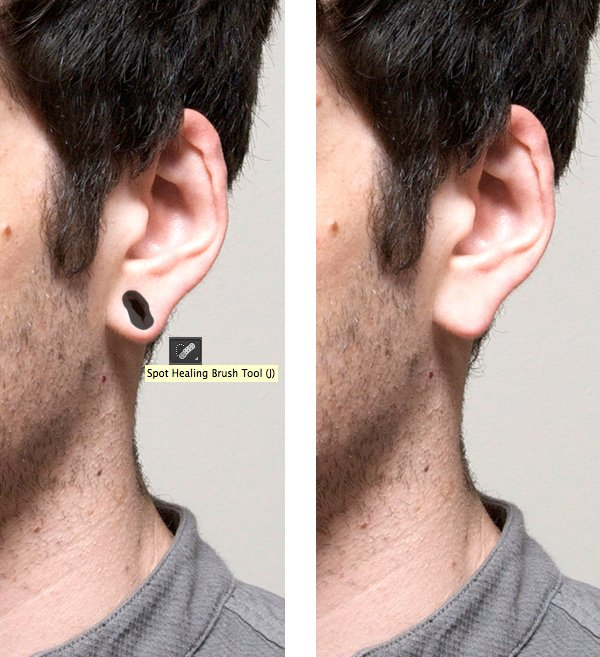 edit the ear with the Spot Healing Brush Tool