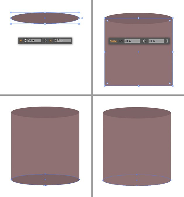 make a candle from ellipse and rectangle
