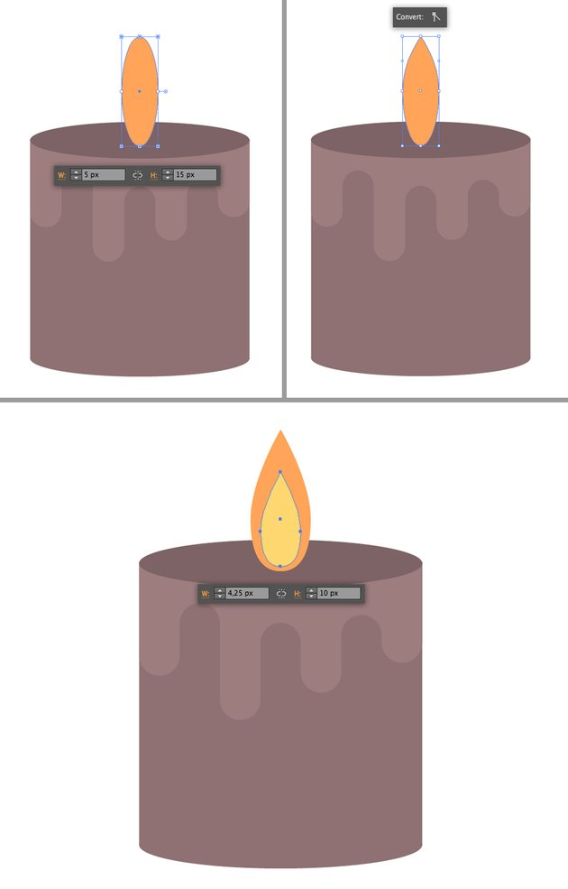 make flame from the ellipse