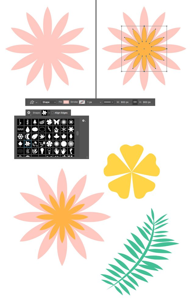 use custom shapes to add flowers and leaves