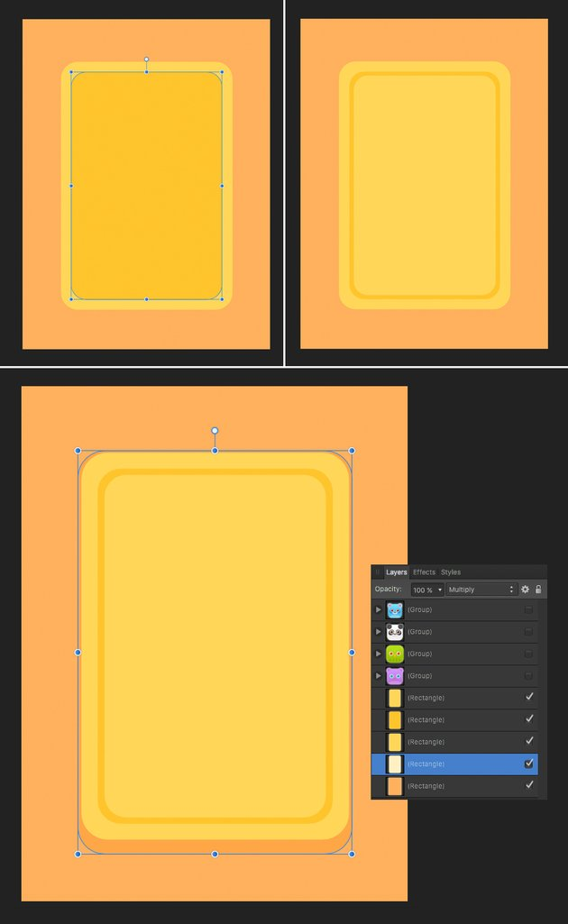 make a game panel from rounded rectangles