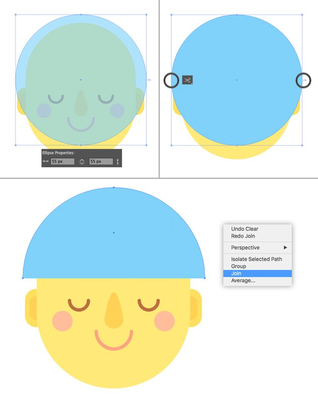 create the hairdo from circle 1