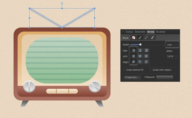 Use the Pen Tool P to add an antenna