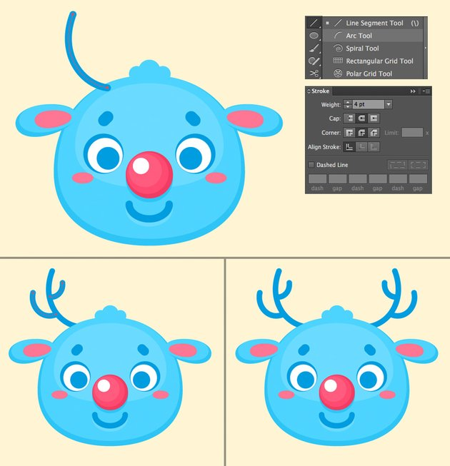 make antlers with arc tool