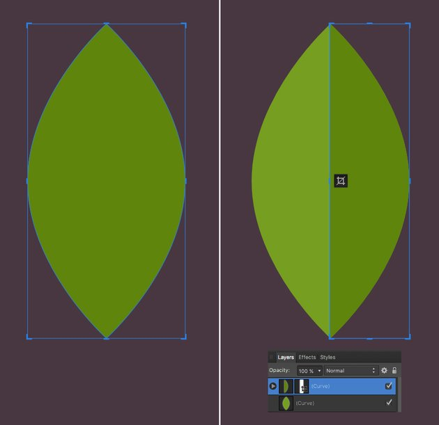 make a leaf from ellipse 2