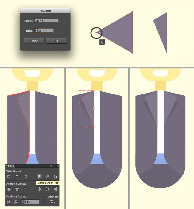 make the lapel from triangle using the polygon tool