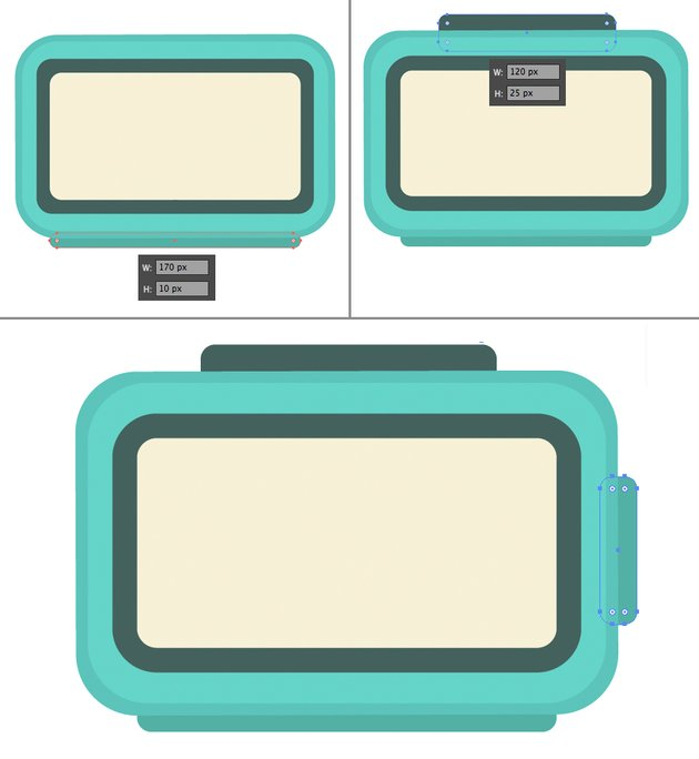 add rectangular buttons to the clock