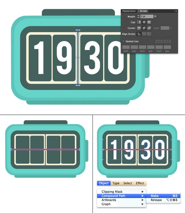 add dividers to the clock face using stroke and rectangle tool