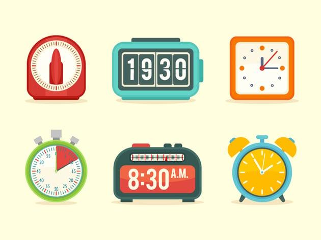 Flat Clock Icons Set in Adobe Illustrator