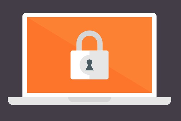 lock icon above the laptop