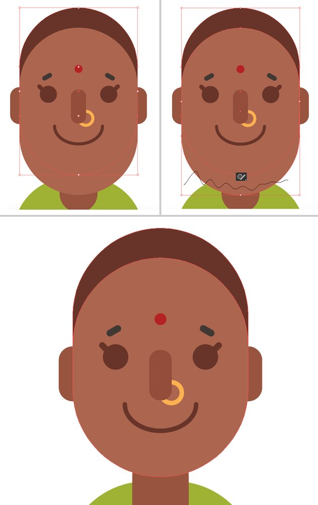 make the head from the face shape