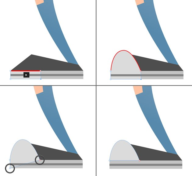 form the toecap from the rectangle