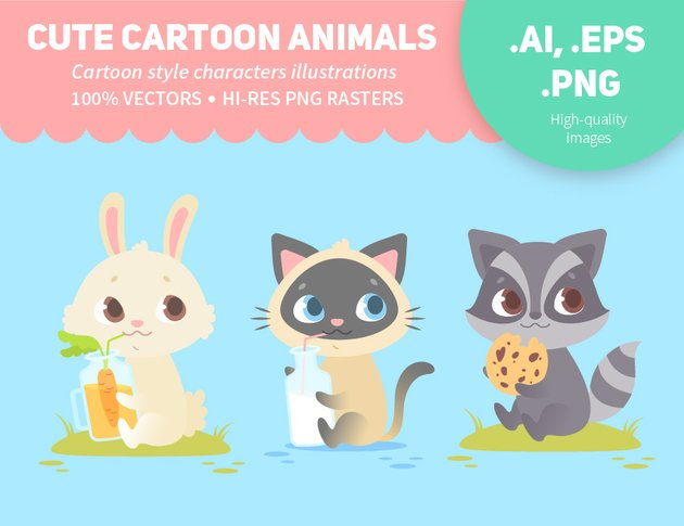 cute cartoon animals from graphicriver