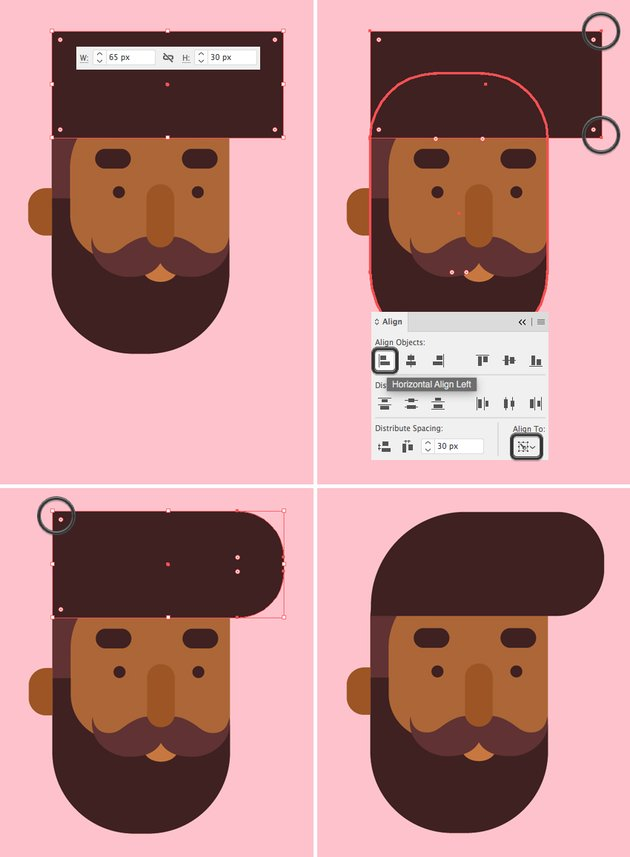 make a hairdo from rectangle