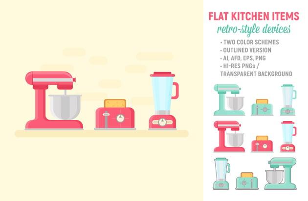 Retro Kitchen Items Set