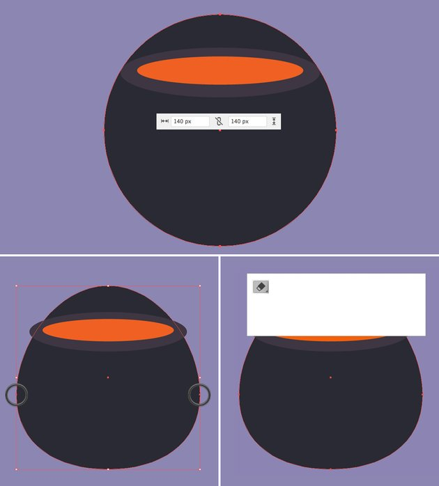 make a circle body of the cauldron