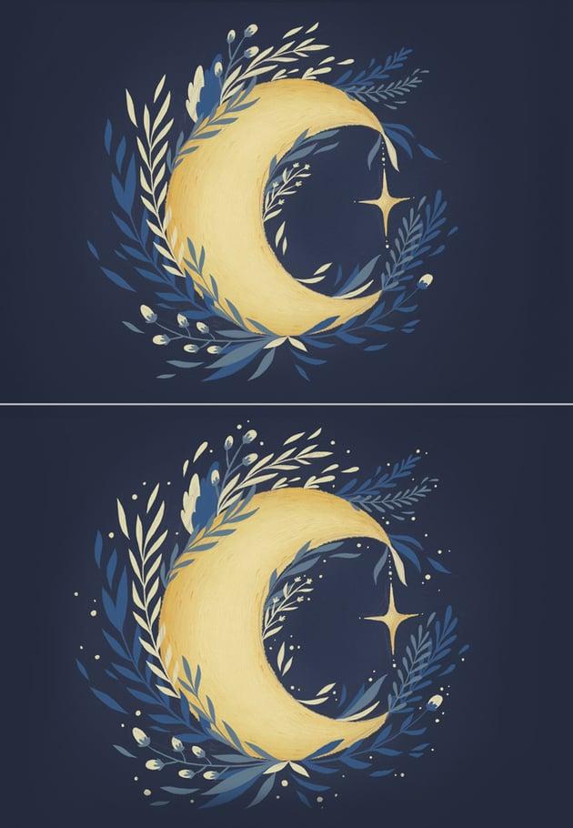 add yellow stars around the moon