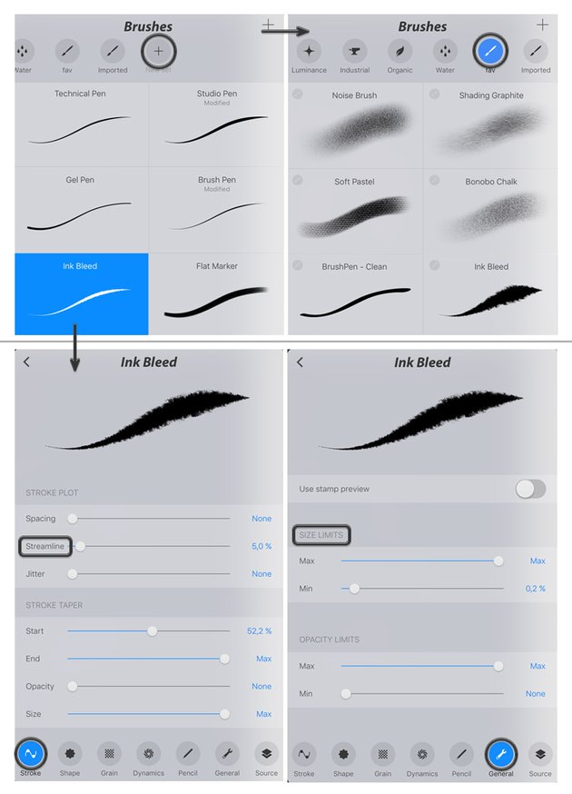 create a new set and open brush settings