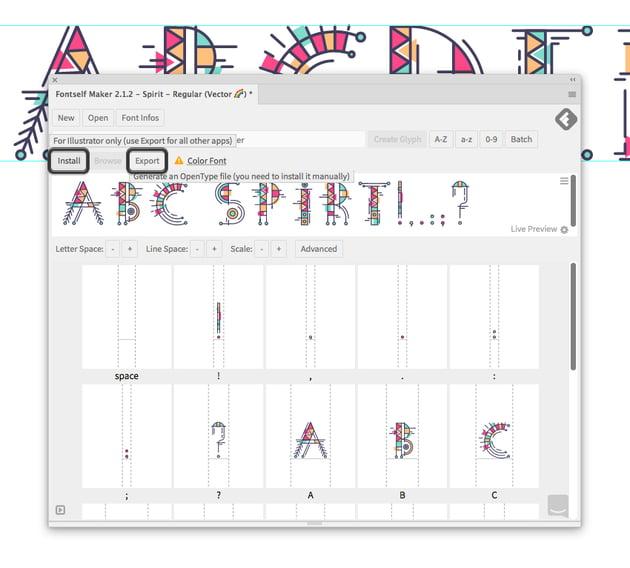 export your opentype font