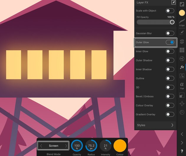 use Layer FX Studio and outer glow