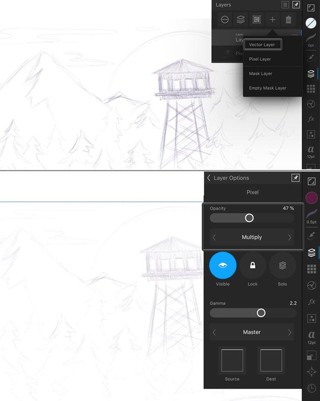 adjust layer settings
