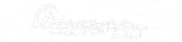 how to draw big rocks simple way