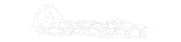 how to draw rock rubble