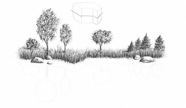 how to draw reflection on a lake