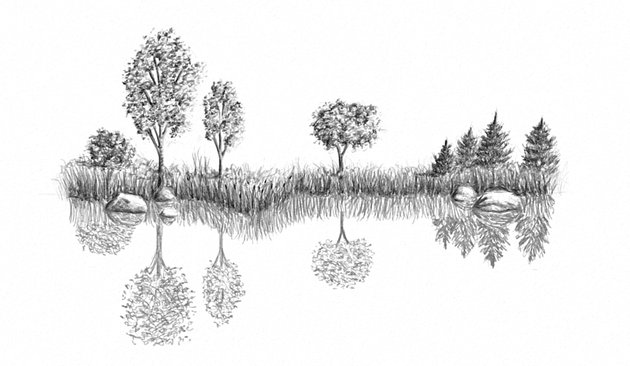 how to make reflection on a lake in drawing
