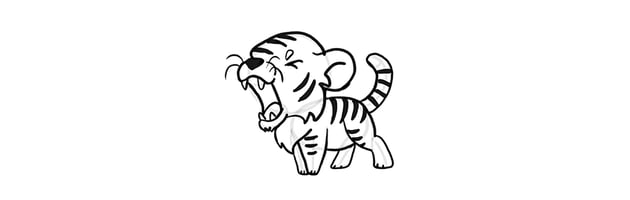 how to draw a roaring chibi tiger
