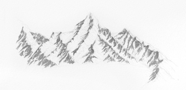 how to draw snow on the mountains