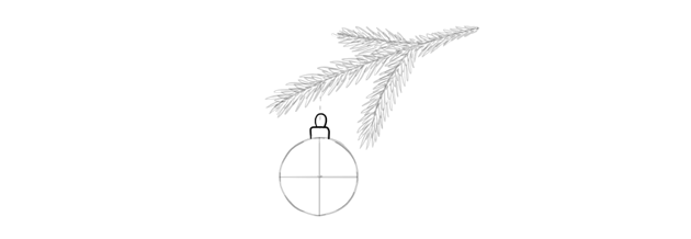 how to draw a christmas ball hanging from a branch
