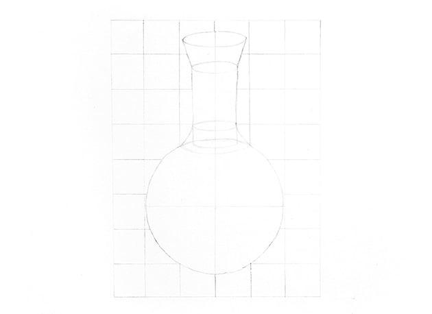 sketch a glass bottle