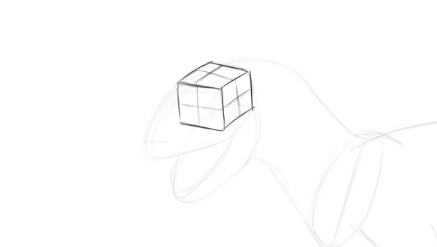 how to draw dino head in perspective