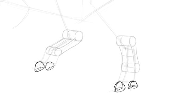 how to draw trex toes