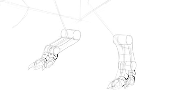 how to draw dragon feet