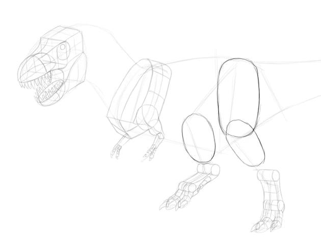 how to draw trex legs
