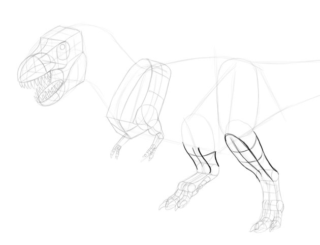how to draw trex limbs