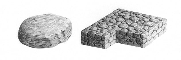 how to draw realistic stone rock texture with pencils
