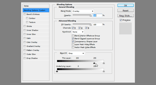 how to use blending options