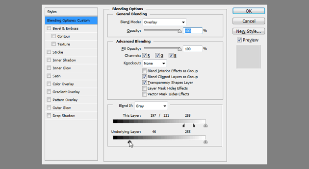how to exculde dark parts of the layer