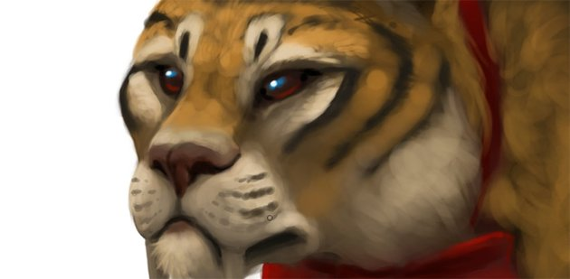 big cat face painting in photoshop