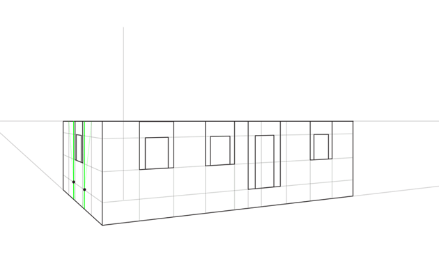 house roof width perspective