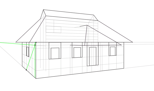 additional roof guide lines in perspective