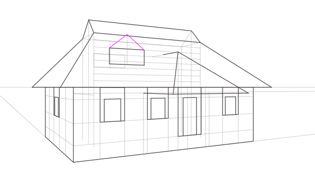 how to draw triangular weindow in perspective
