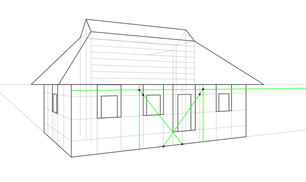 porch roof in perspective