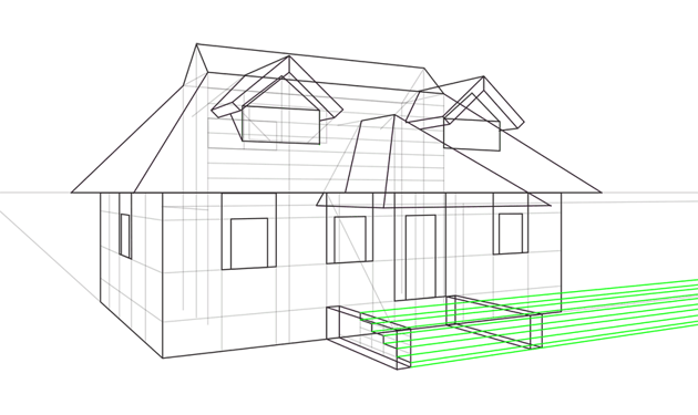 how to draw house steps