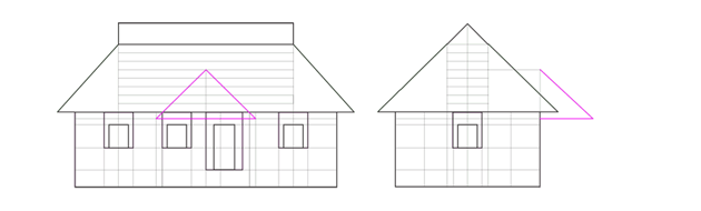 porch roof outline front view