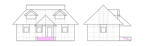 steps outline front view