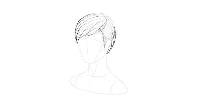 short hair strands outline